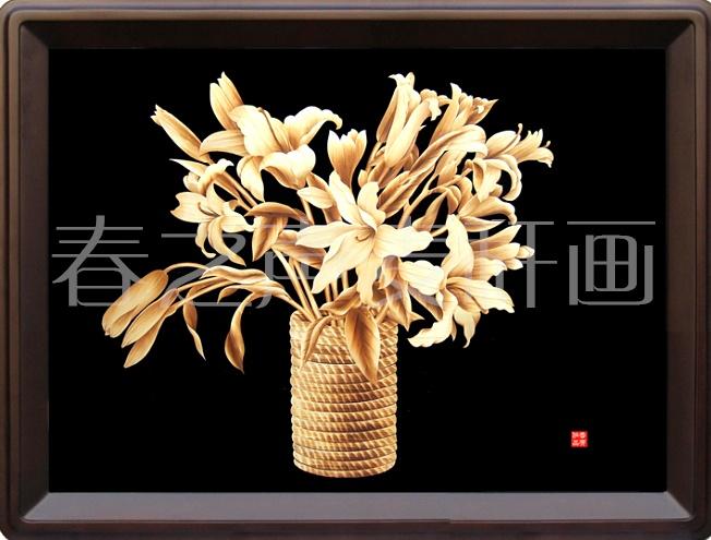 <百合花>麦秆画