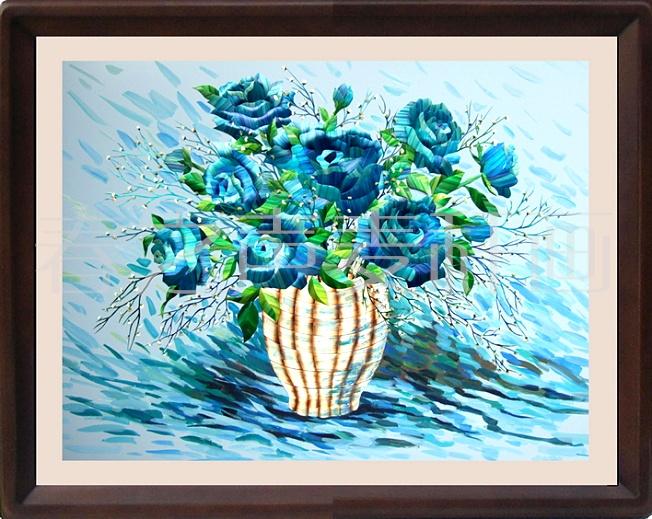 <蓝玫瑰>麦秆画