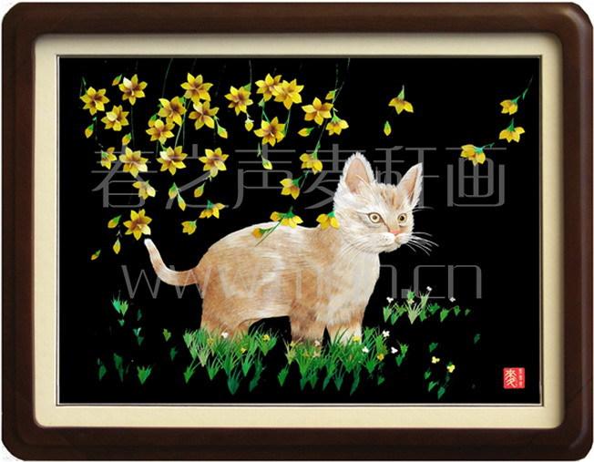 麦秆画装饰画猫
