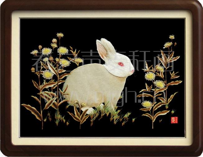 麦秆画装饰画白兔