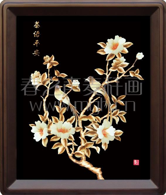 麦秆画装饰画茶语平安
