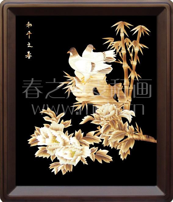 装饰画麦秆画和平之春