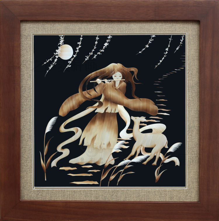 装饰画麦秆画鹿笛
