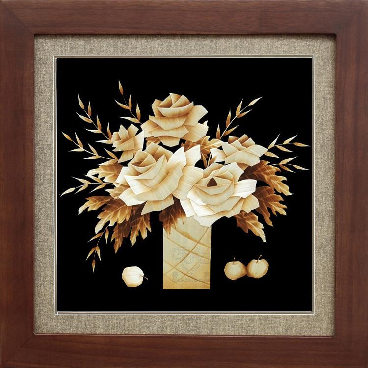 装饰画麦秆画超级玫瑰