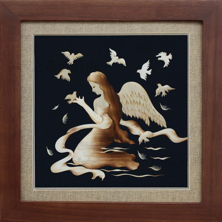 麦秆画手工艺品装饰画问鸟