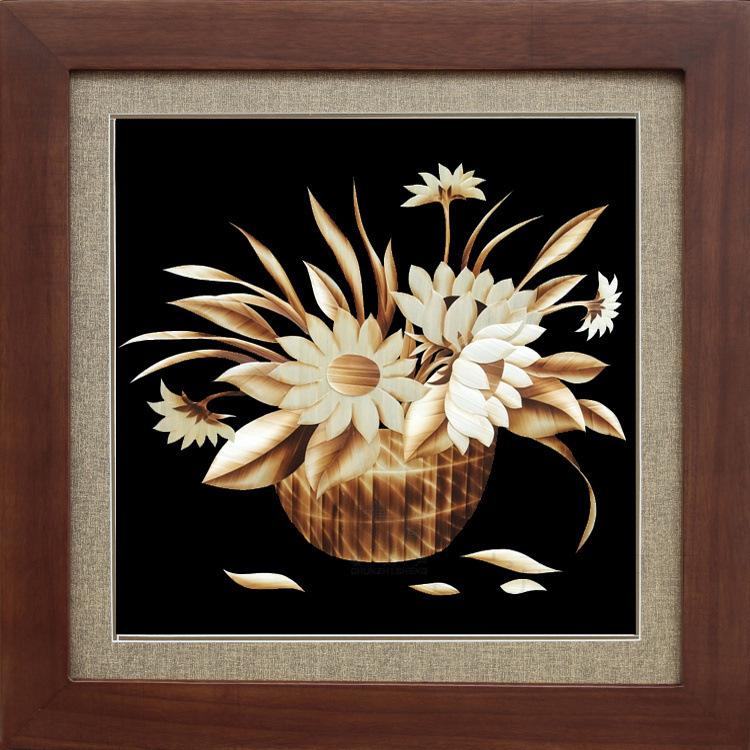 装饰画麦秆画手工艺品向日葵