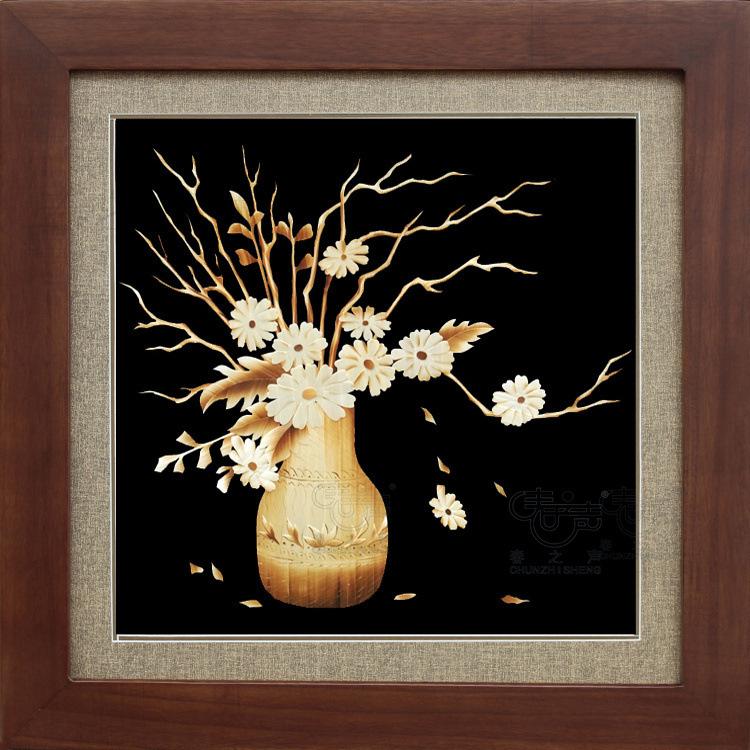 装饰画芯麦秆画干枝菊