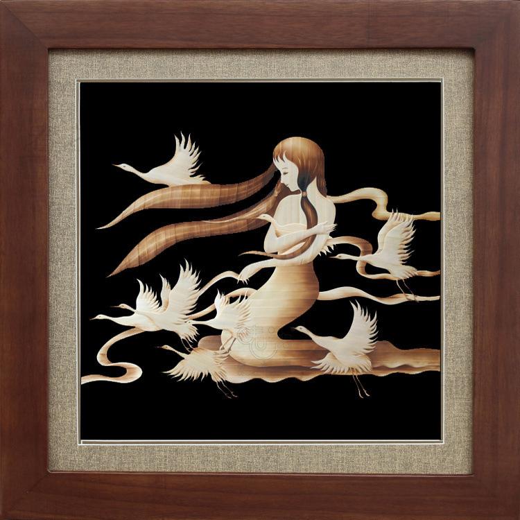 装饰画芯麦秆画鹤之舞