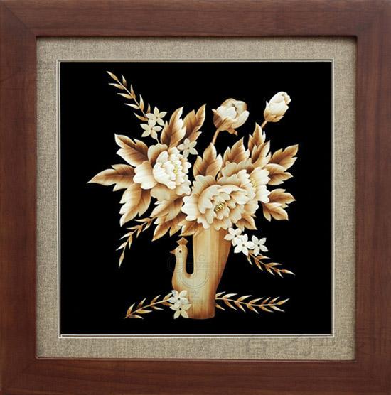 装饰画芯麦秆画孔雀牡丹