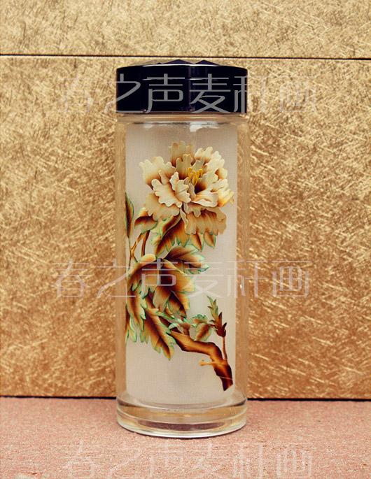 麦秆画创意礼品水杯牡丹