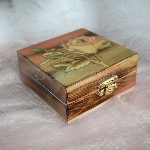 手工艺品麦秆画正方形首饰盒
